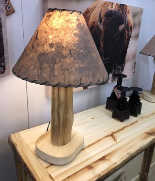 Rustic log Aspen Table Lamp