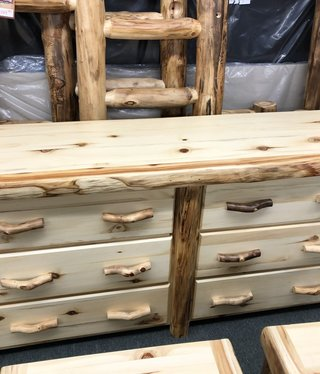 "Rustic log Flat Front Log 6 Drawer Dresser 72""W"