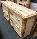 "Rustic log Flat Front Log 6 Drawer Dresser 72""W"