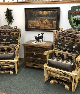 Rustic log Glider Rocker