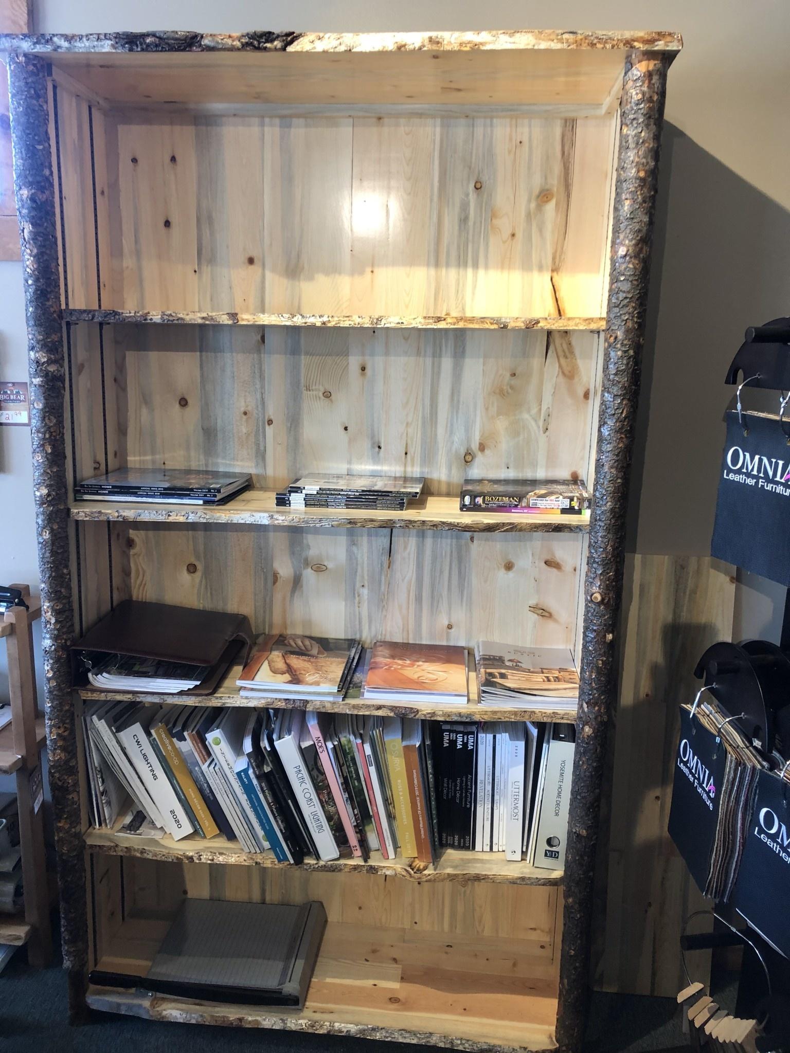 "MCE Industries Rustic Live Edge Bookcase  48""W x 16""D x 84""H"