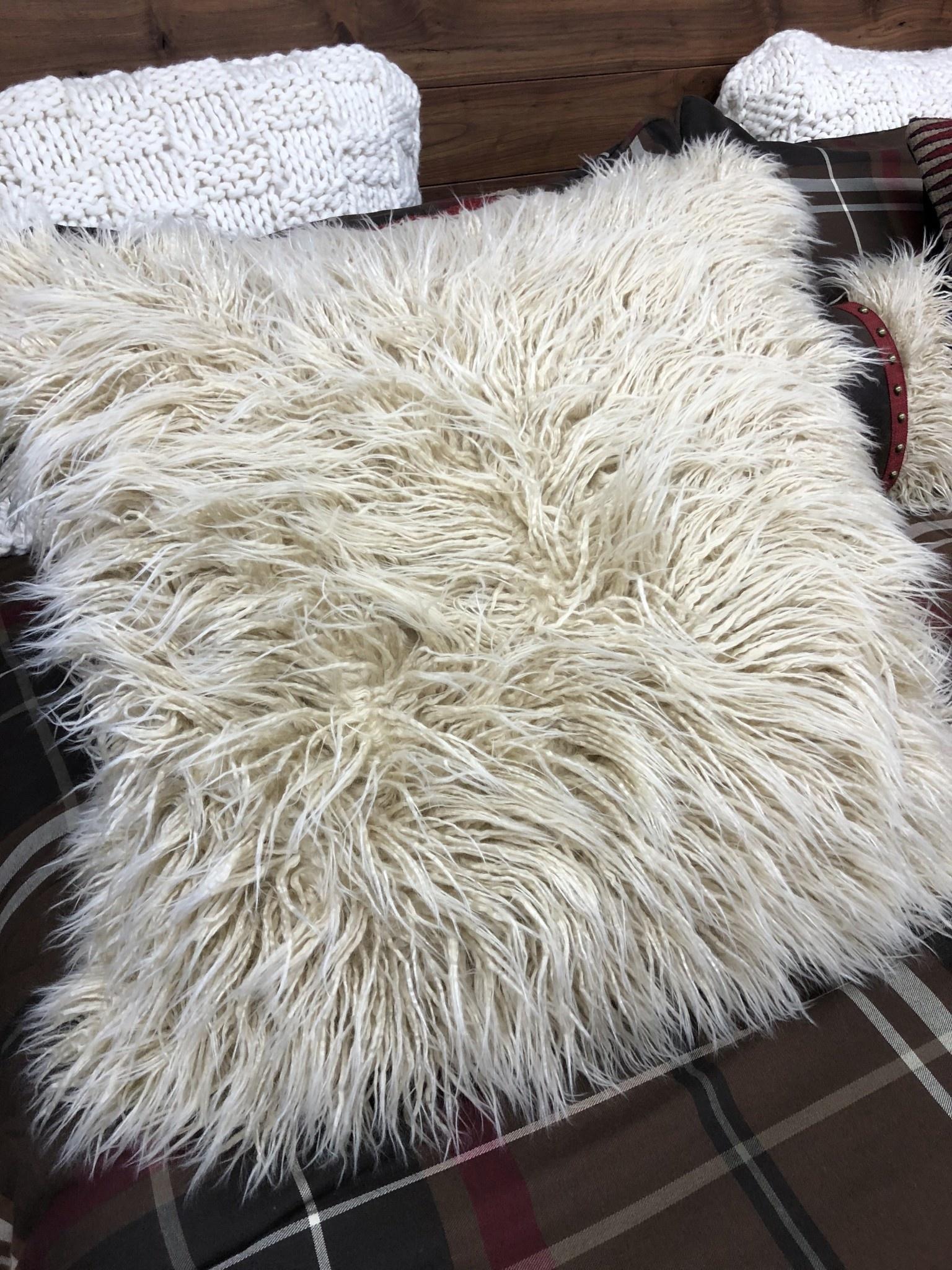 Hiend Mongolian Faux Fur Euro Sham Only, 27x27