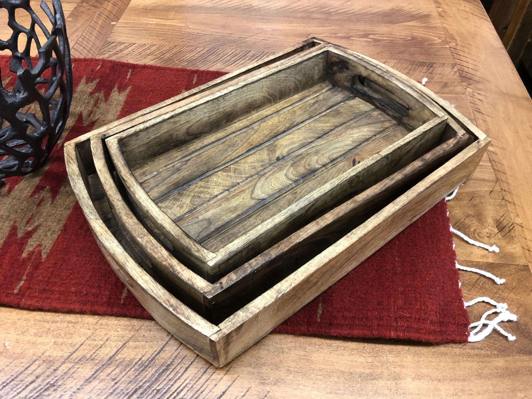 """Uma Large Wood Tray w/Handles 19""""W"""