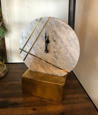 "Uma S/Steel Marble Table Clock 8""W x 10""H"