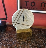 "Uma S/Steel Marble Table Clock 8""W x 10""H"