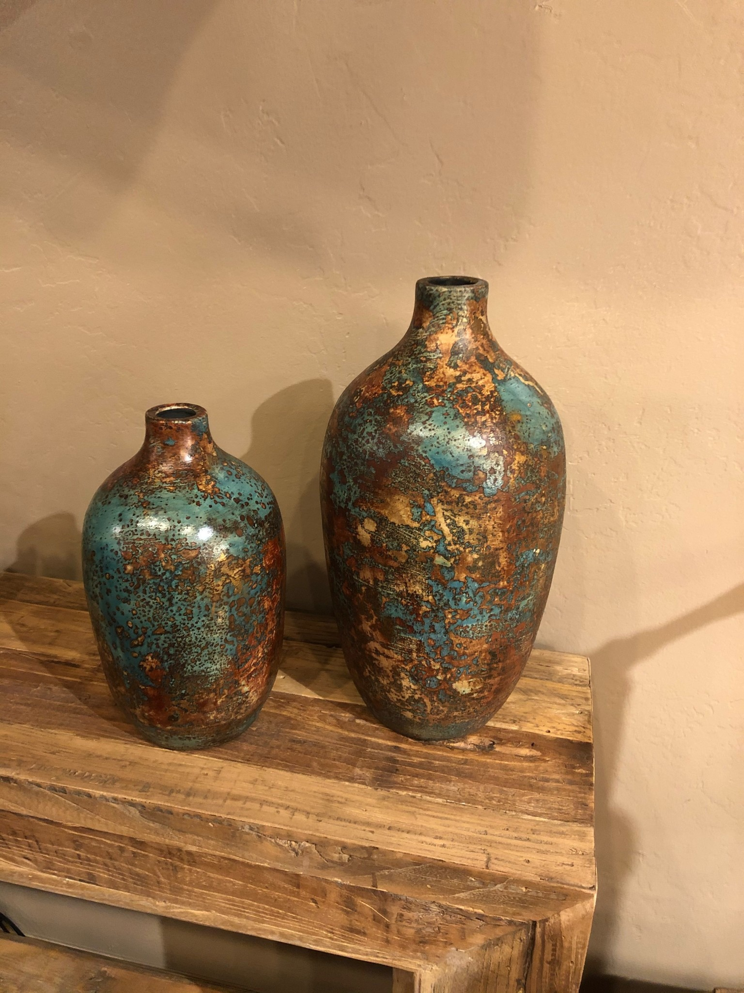 """Uma Turq/Aqua/Metallic Br/Go 15"""" Vase (68674)"""