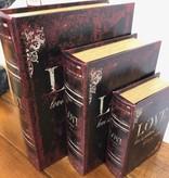 Uma WD Leather Book Boxes Set of 3  (Love)