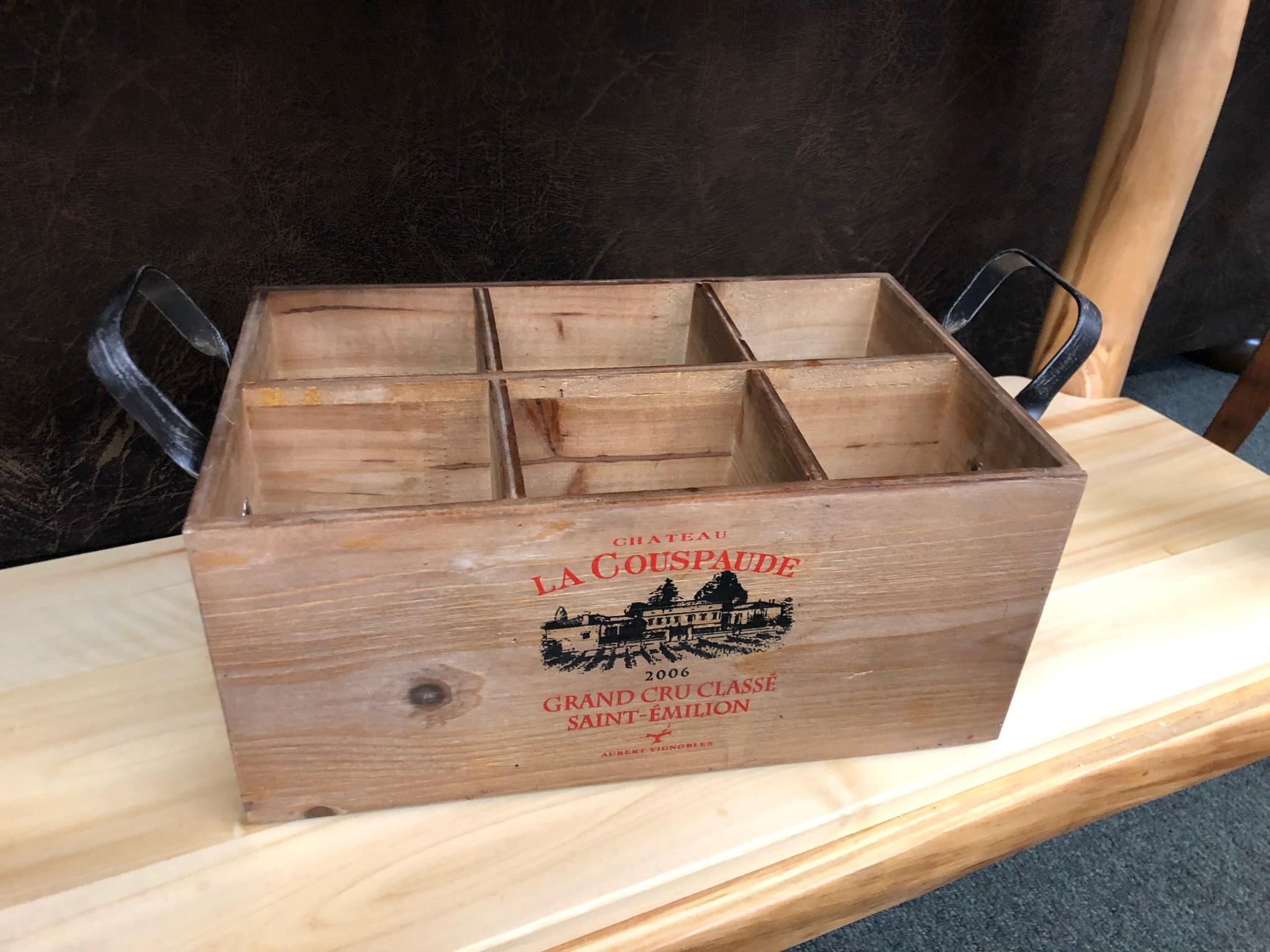 Uma Wood Wine Box w/Handles (56152)