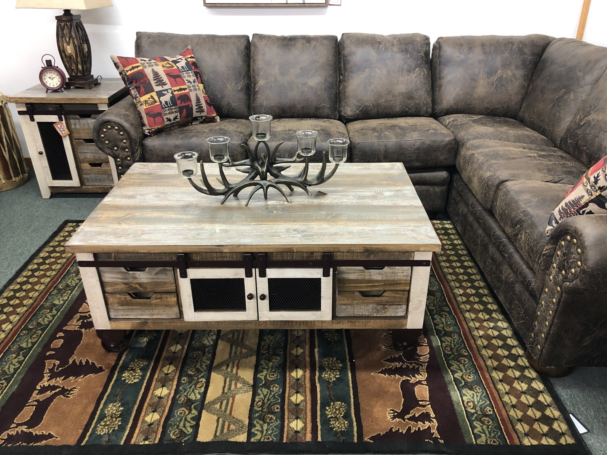 IFD 9661- Antique Multi Cocktail Table 50x30.5x20