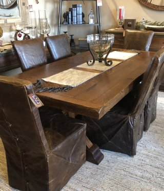 Co-ALBC Quater Sawn w/Oak 7' Trestle  Dining Table