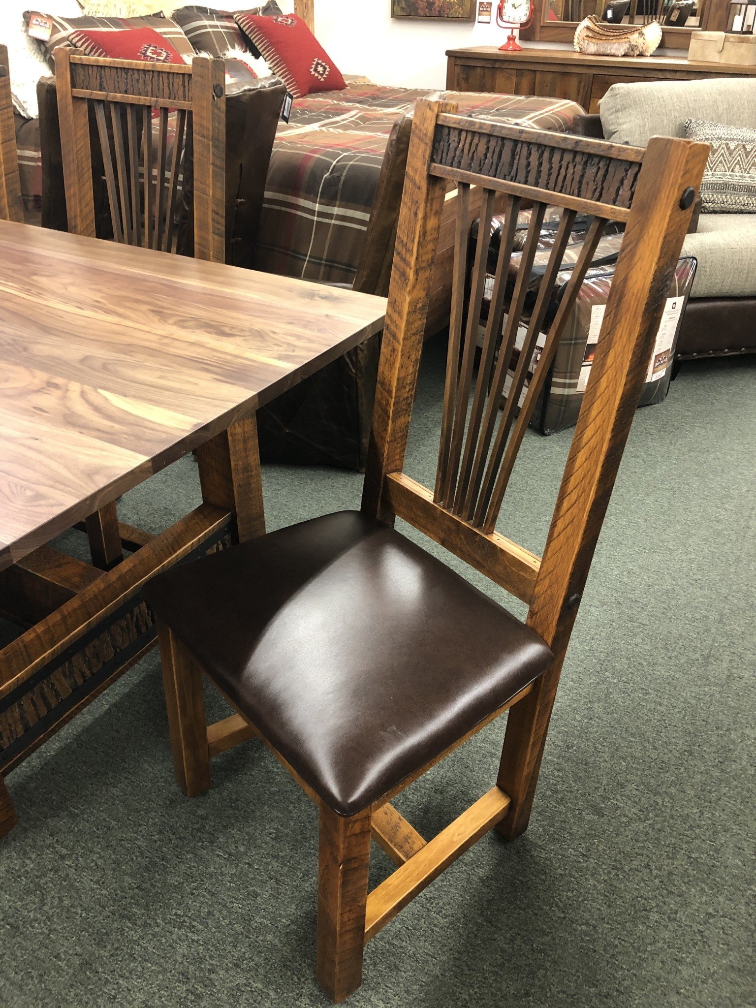 Green Gables Mossy Oak Carver Point Side Chair Natural Bark/Walnut