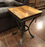 Green Gables Steel Traditions Foxfield Sq Pedestal Mesquite & Turquoise Table