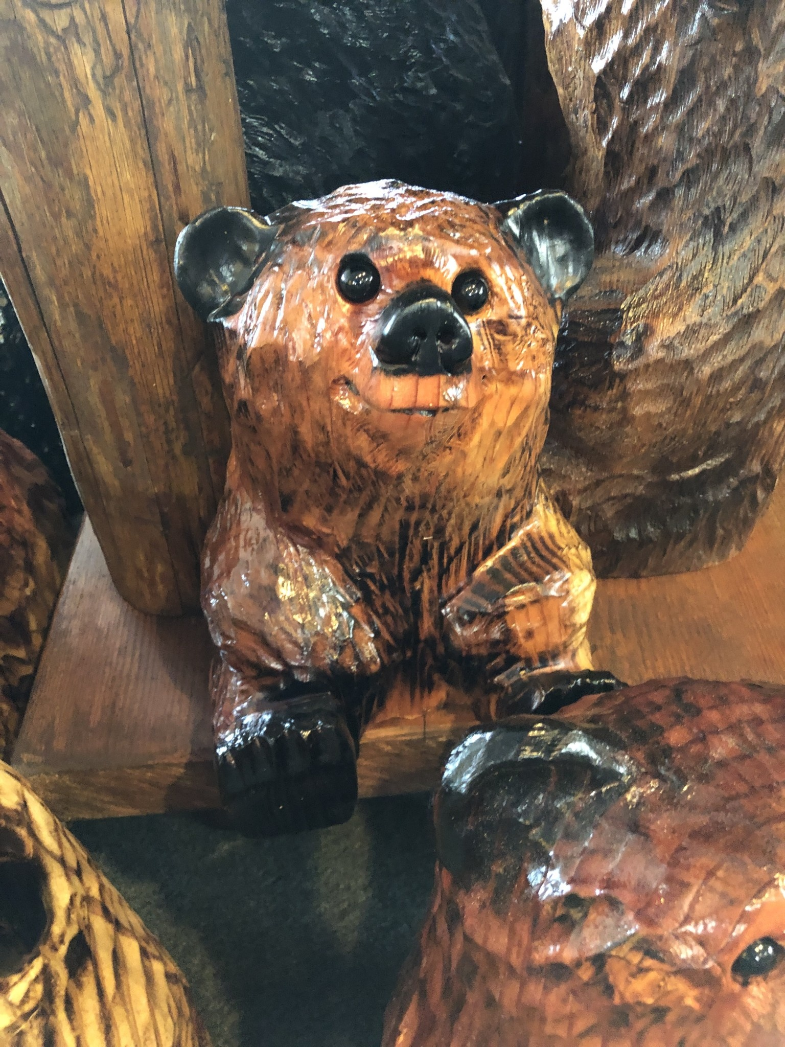"Wood Carving Outlet 10-12"" Carved Sitting Bear"