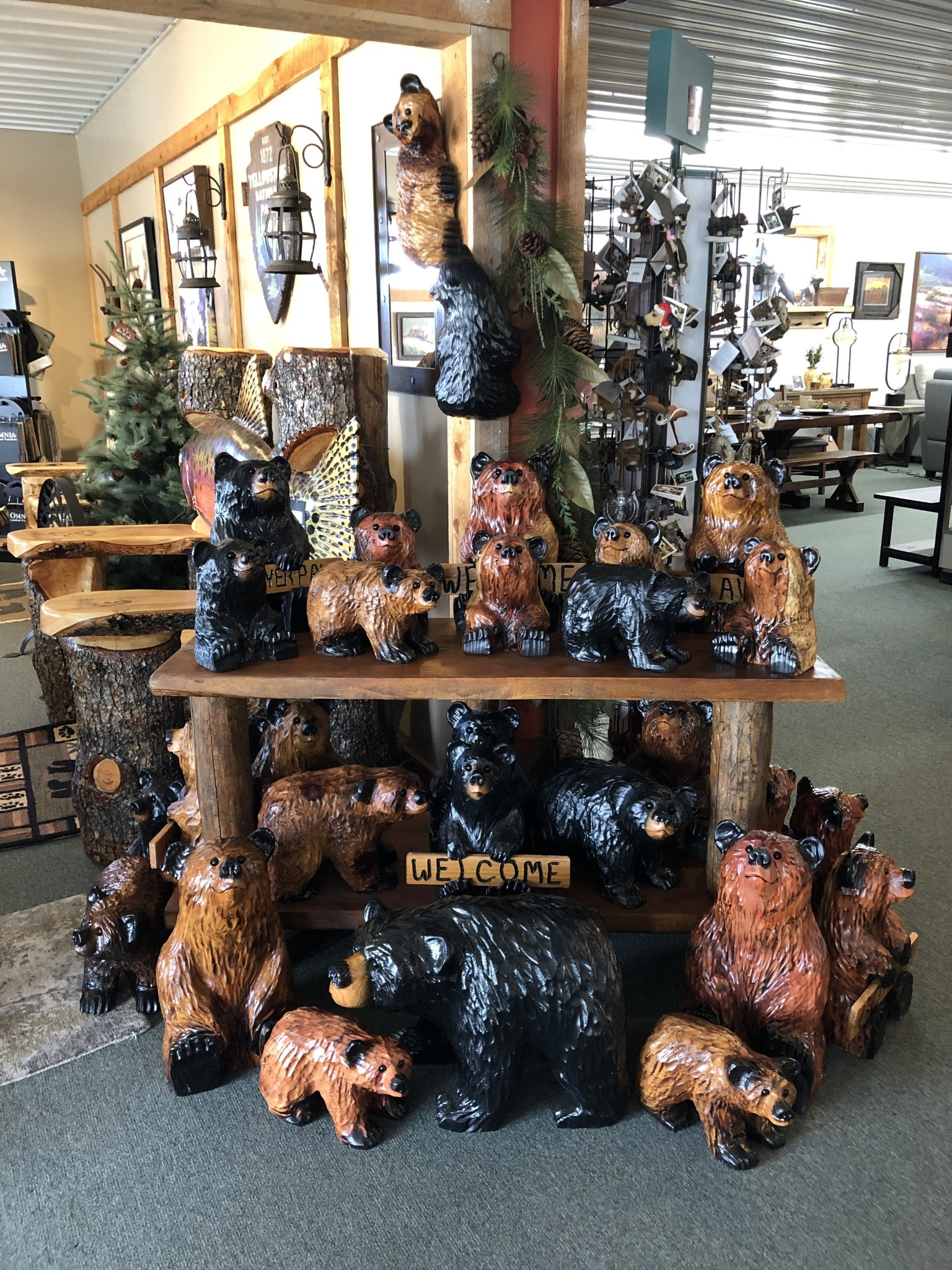 Wood Carving Outlet Large Carved Welcome Bear