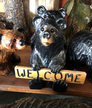 Wood Carving Outlet Small Carved Welcome Bear