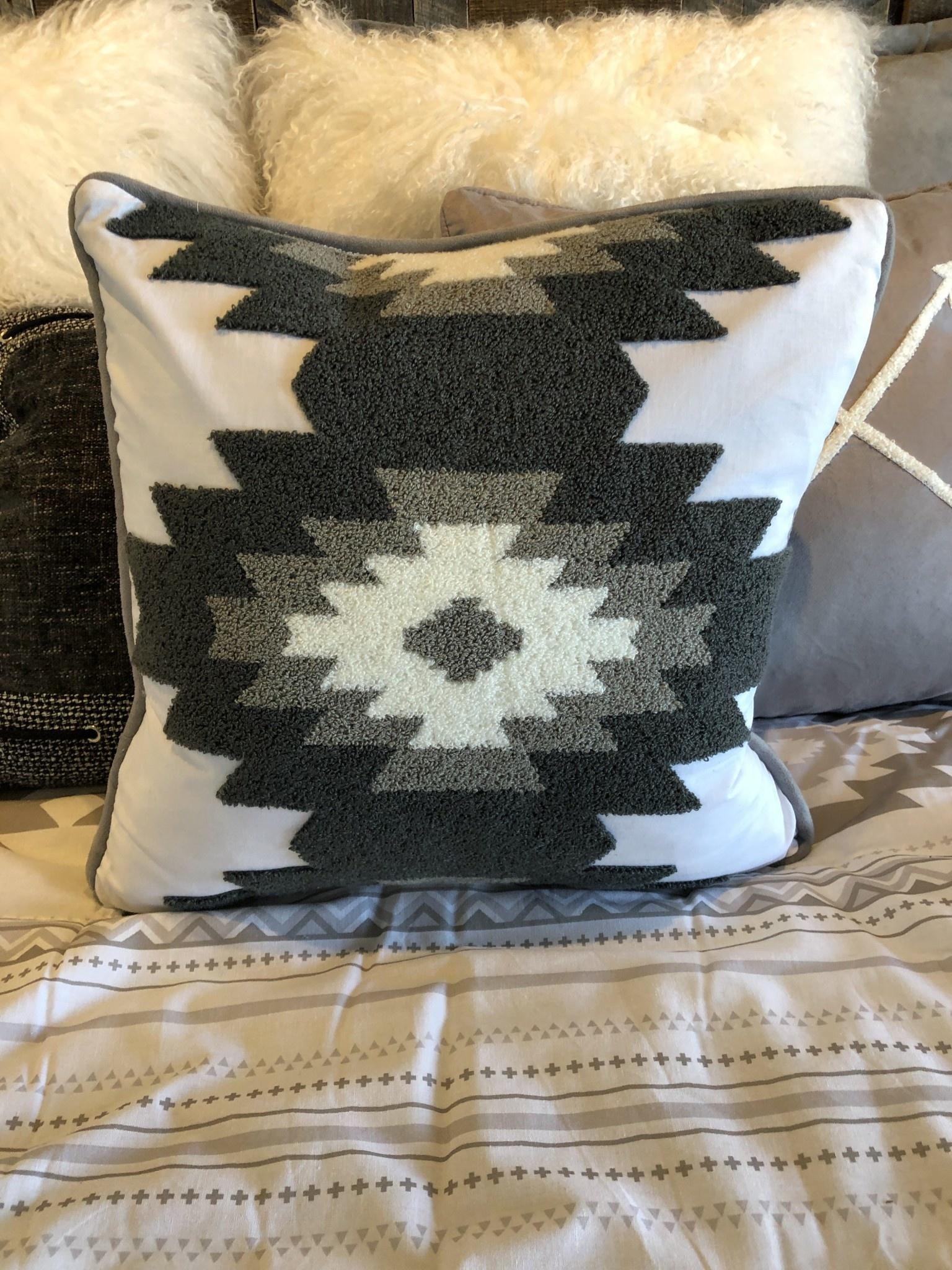 Hiend Free Spirit w/Crewel Embroidery Pillow 18x18