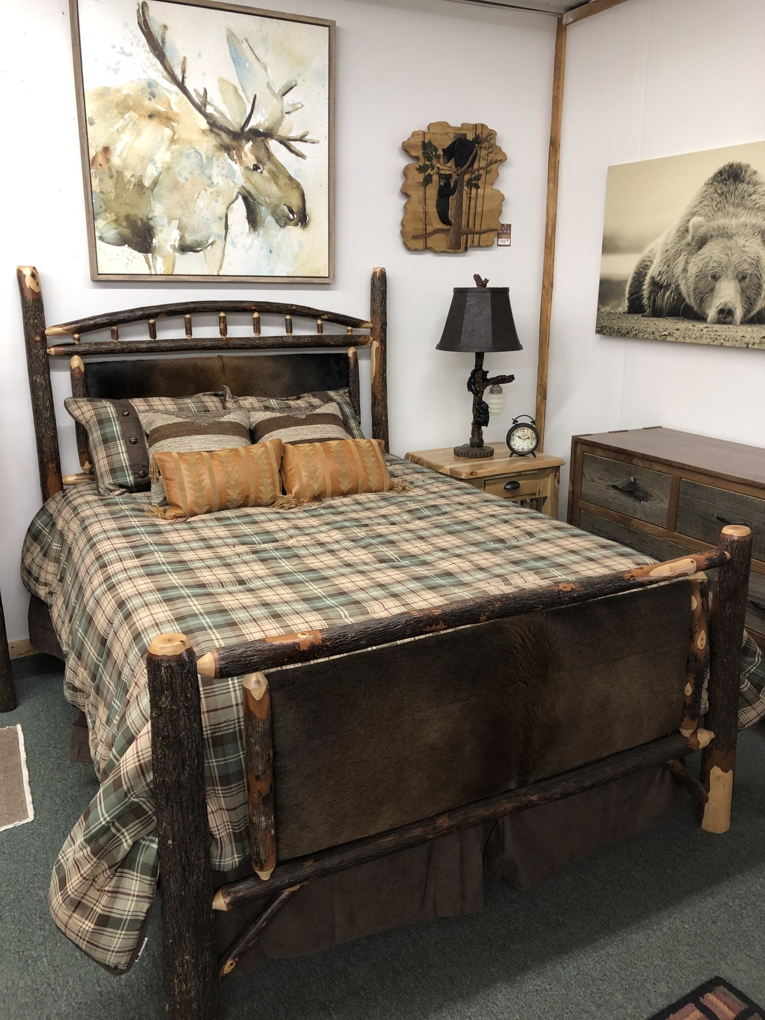 Co-ALBC Hickory Cowhide Queen Bed
