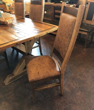 Co-ALBC Upholstered w/Hair on Hide Barnwood Chair