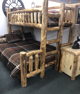 Rustic log Aspen Twin/Queen Bunk Bed