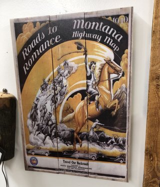 Classic Outdoor Magazines #7 1940 Montana Map 14x20 Wood Sign