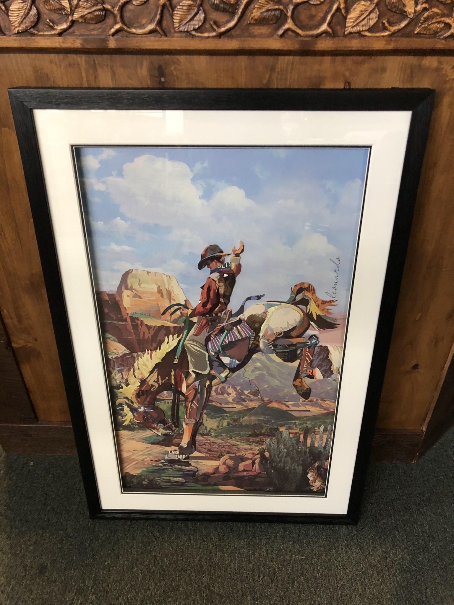Simpkins-Canterbury Lane Collage 3D Cowboy on Bronc Art