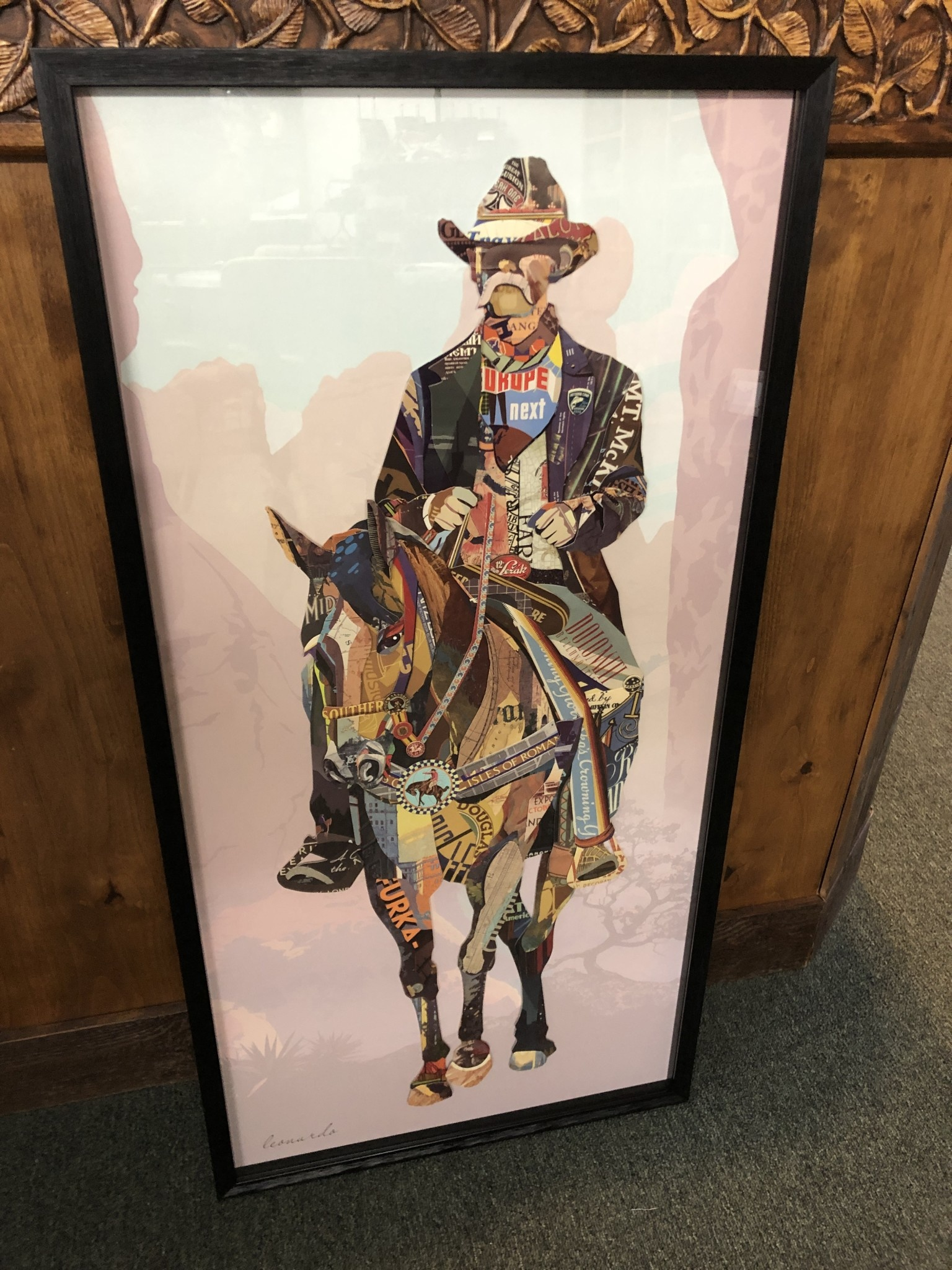 Simpkins-Canterbury Lane Collage 3D Cowboy on Horse Art