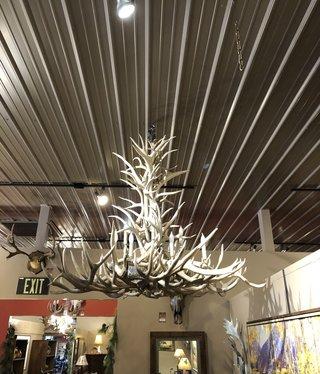 Fish 12 Light White Elk/Mule Deer Chandelier