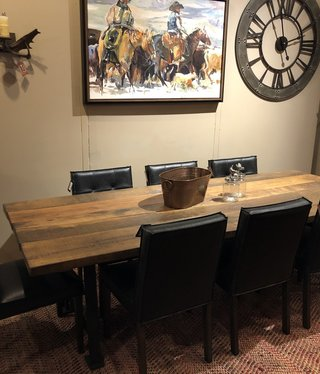 HTD Reclaimed Barnwood Slab Dining Table  96x38x29