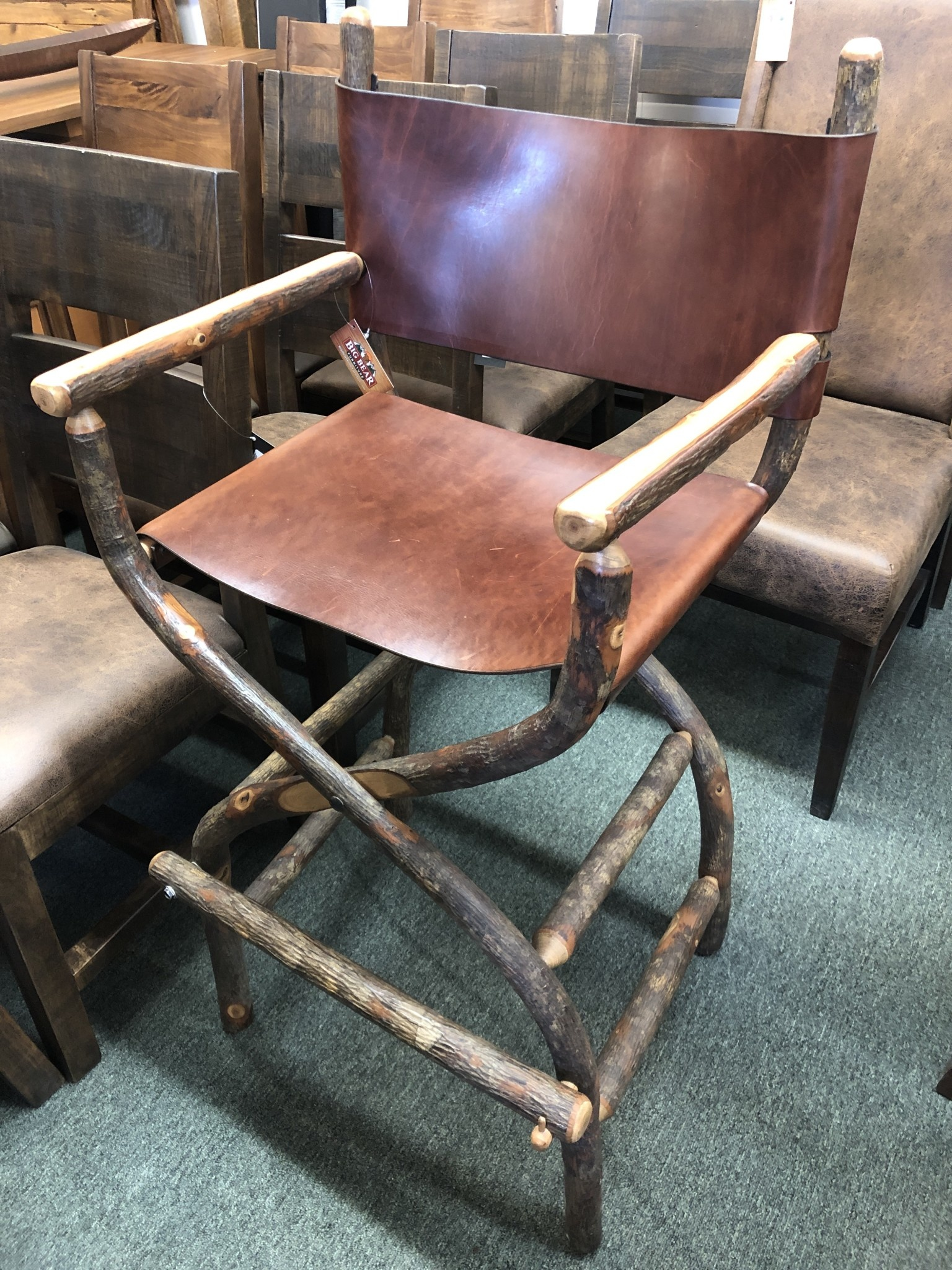 Co-ALBC Hickory Bar Stool With Upholstery