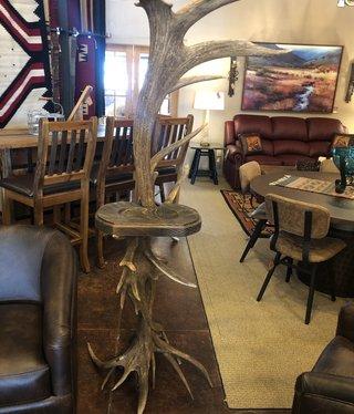 Fish Elk Antler Floor Coatrack w/shelf