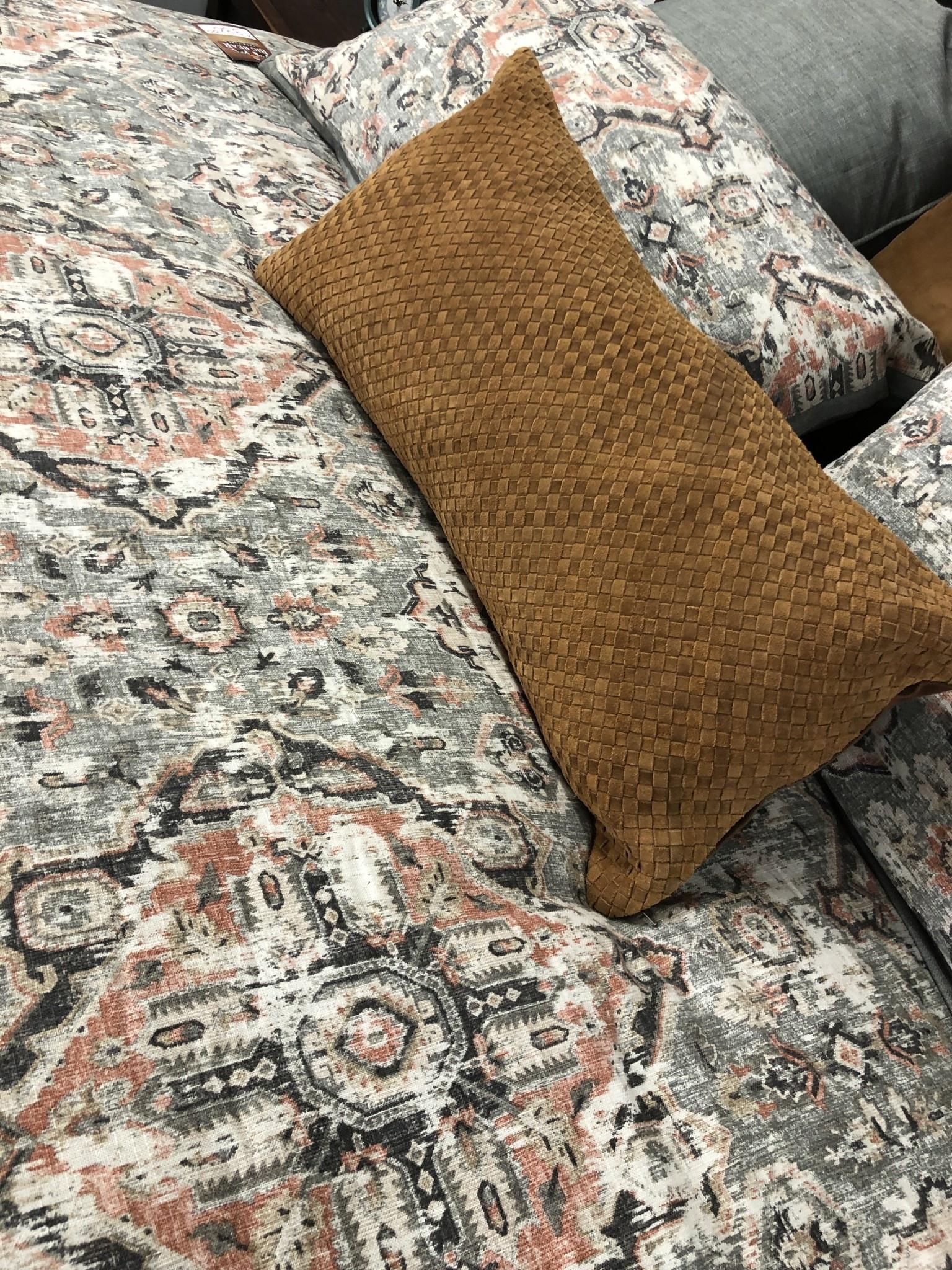 Hiend Suede Basket Weave Lumbar Pillow