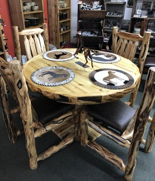 "Rustic log 48"" Aspen Dining Table"