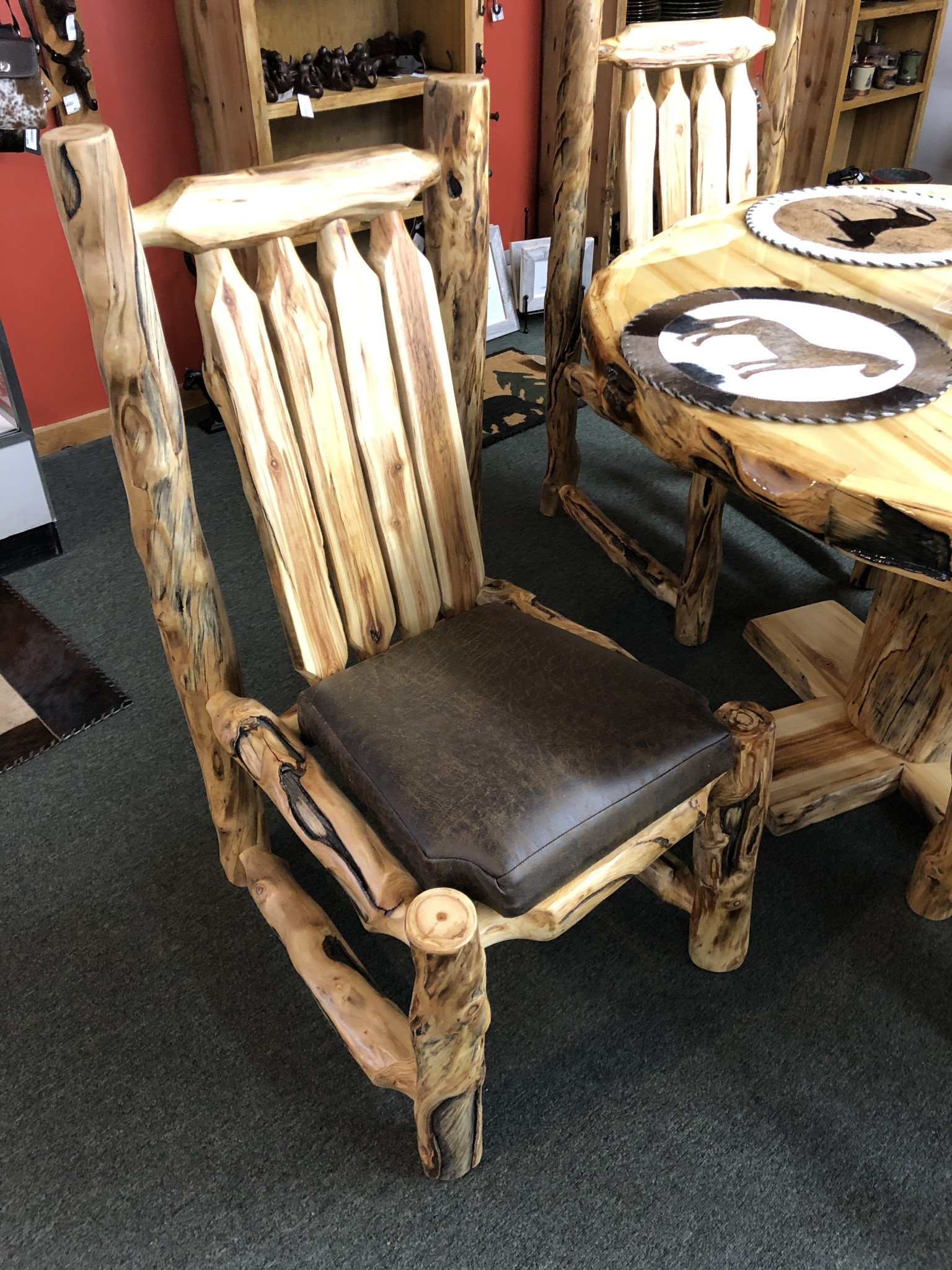 Rustic log Aspen Side Chair w/Upholstered Seat