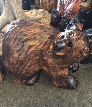"""Wood Carving Outlet 15"""" Bear with Head Turned Back"""