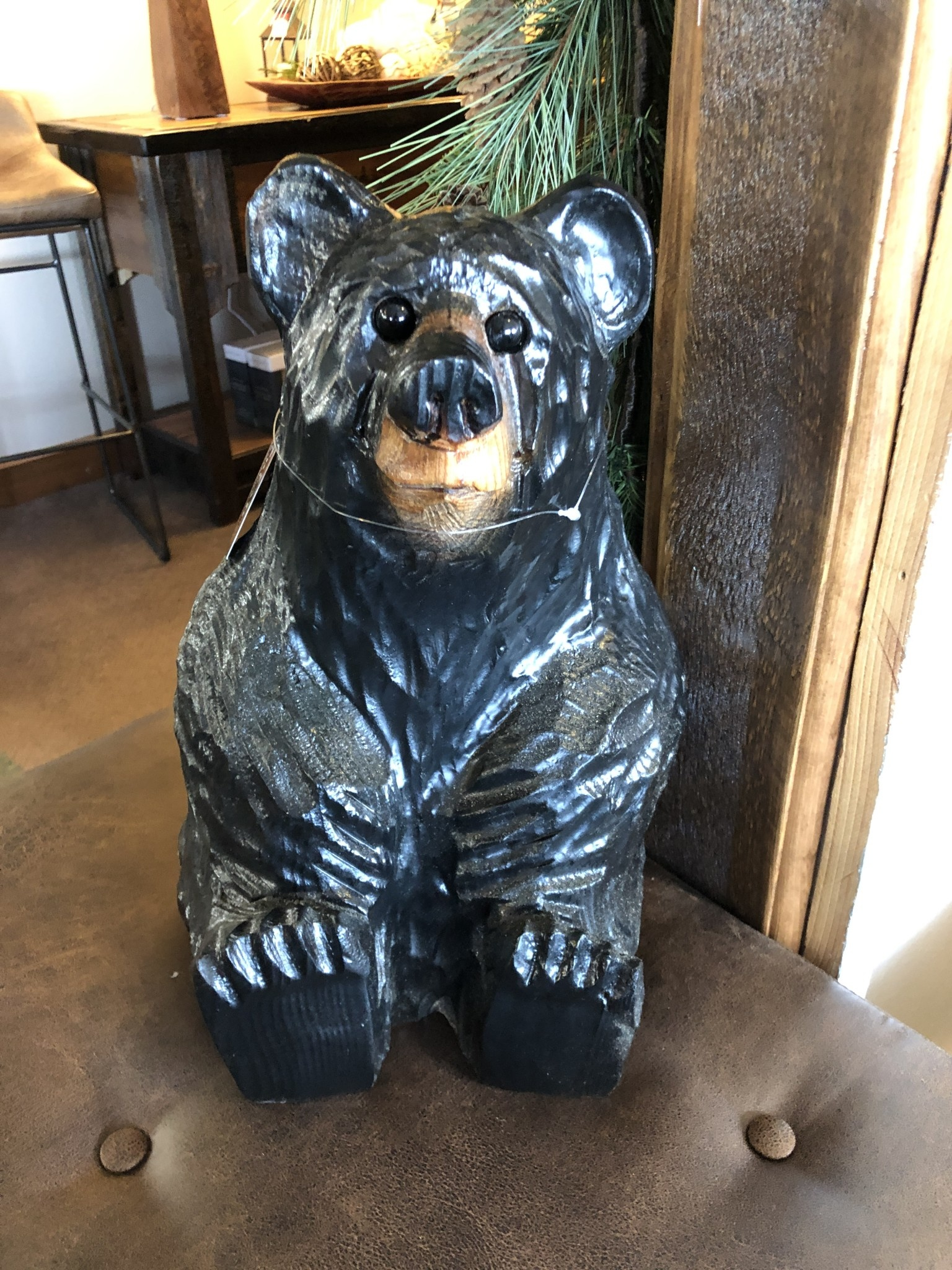 """Wood Carving Outlet 15"""" Sitting Carved Bear"""