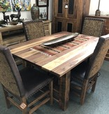 Green Gables Mossy Oak Carver Point 5' Dining Table-Natural Bark w/Walnut Top