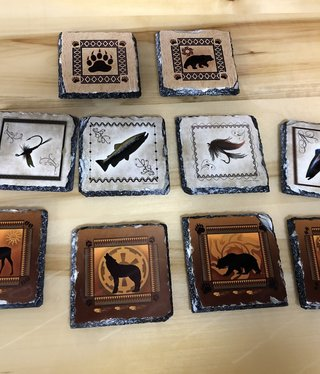 "Troutwater Designs Wildlife Slate Coaster  3.9""x3.9"""