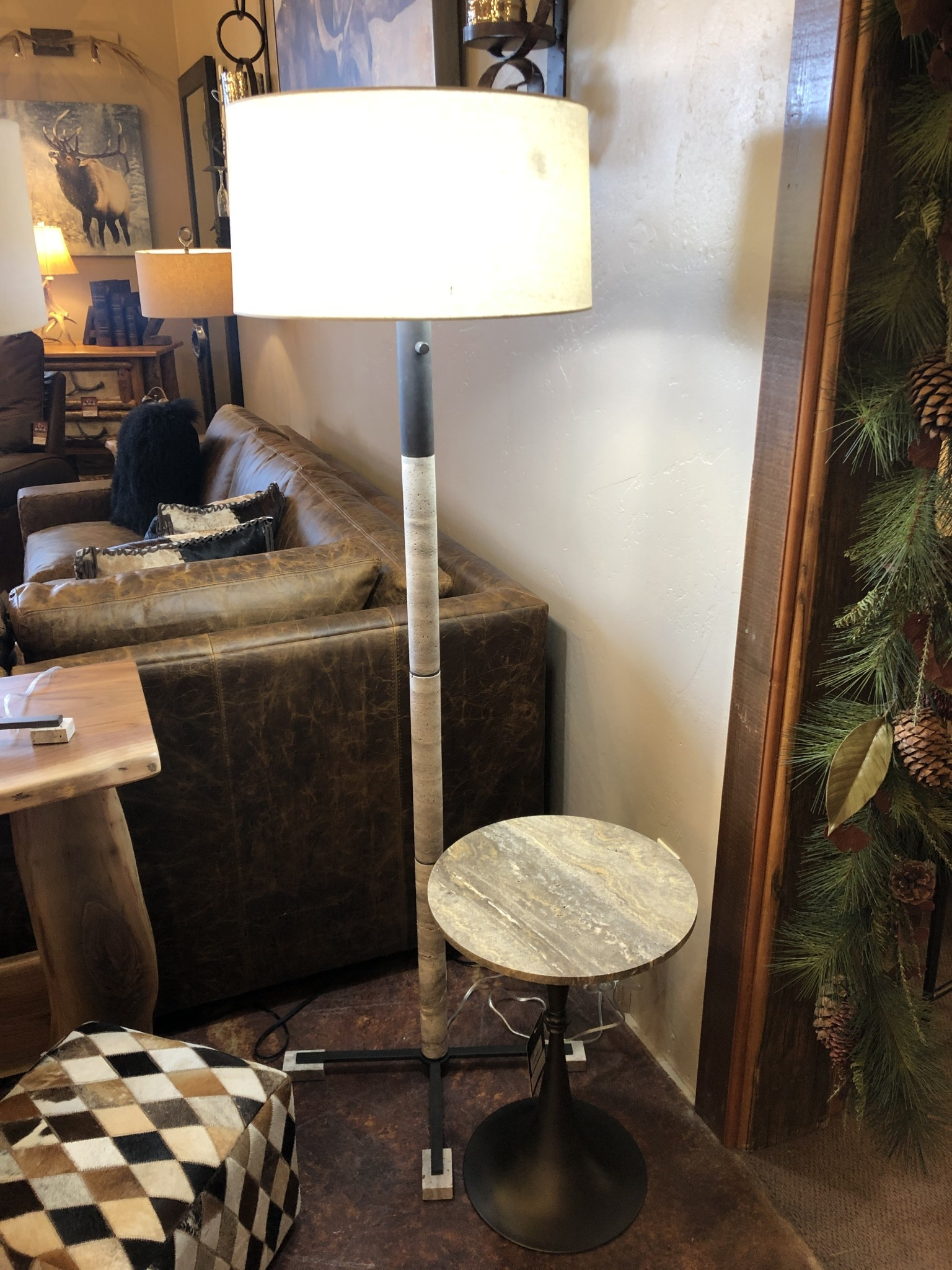 Uttermost Library Grey Stone Floor Lamp, 66H