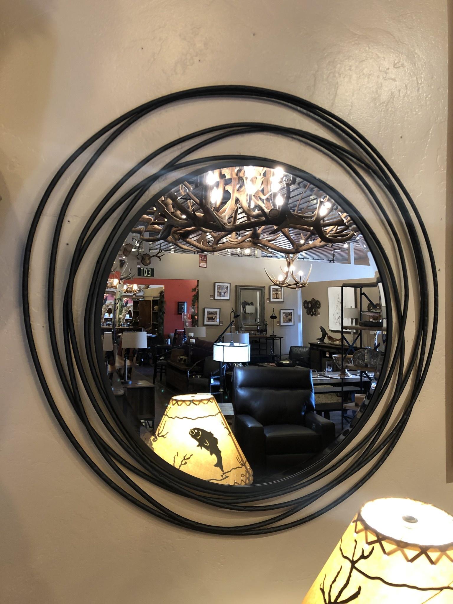 """Uttermost Whirlwind Black Round Mirror 39""""D"""