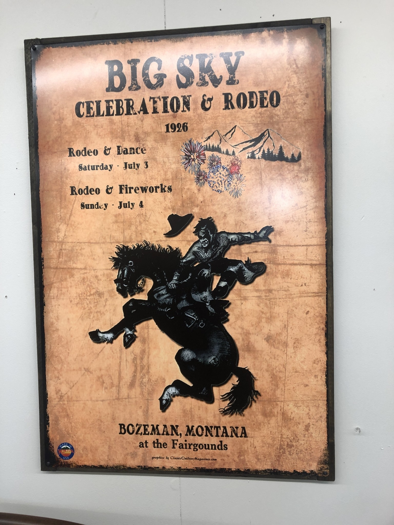 Classic Outdoor Magazines Rodeo Wood Frame 24x36