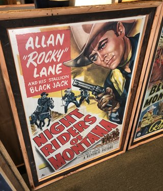 """Jerry Curtis """"Night Riders of Montana"""" Old Movie Poster Art - 31x45"""