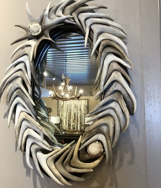 Fish Small Antler Mirror  16x21 (Oval)