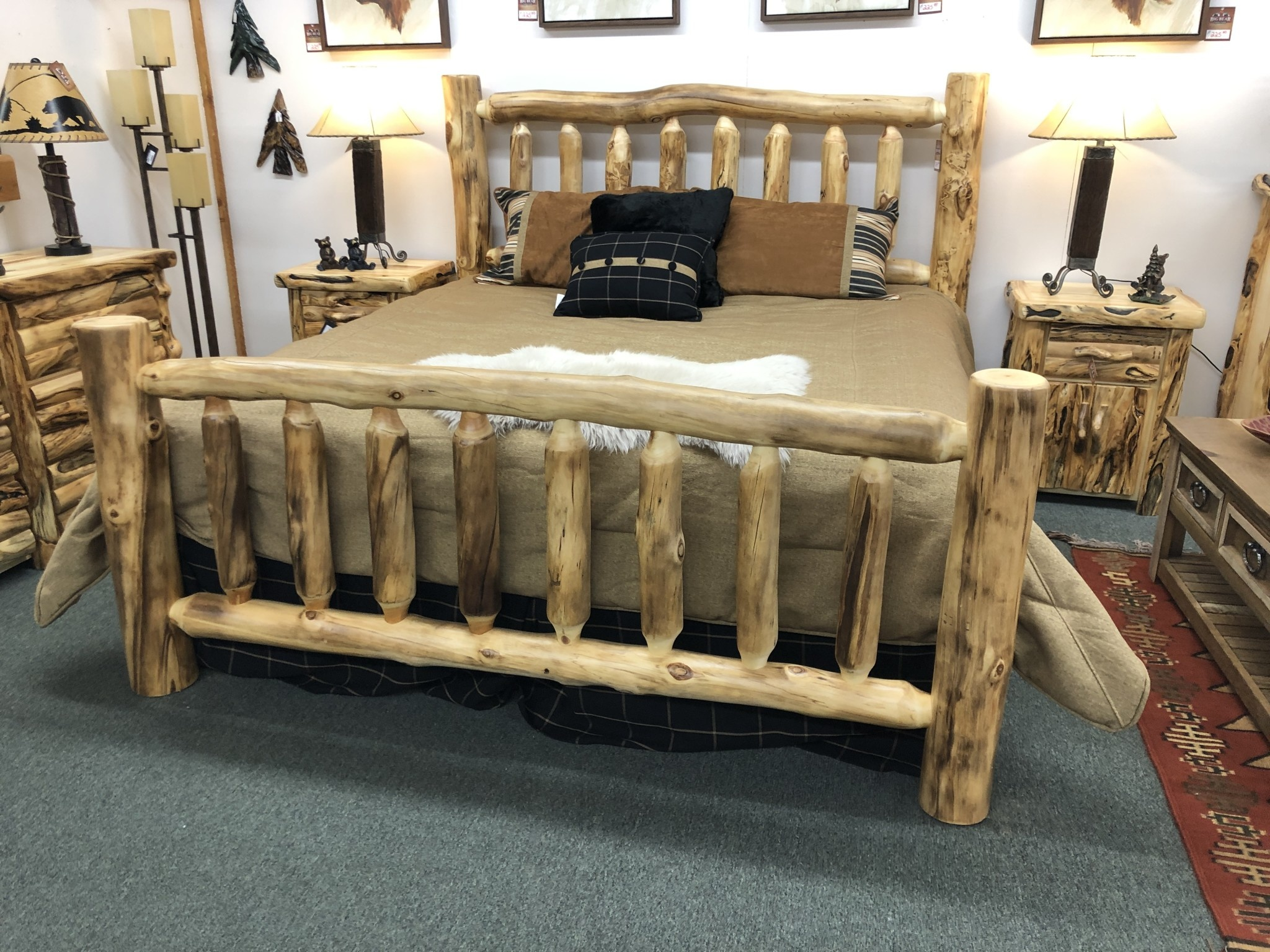 Rustic log Aspen King Bed
