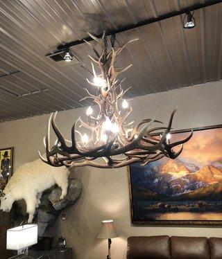 Fish 5x5 Elk & Deer 13 light Chandelier