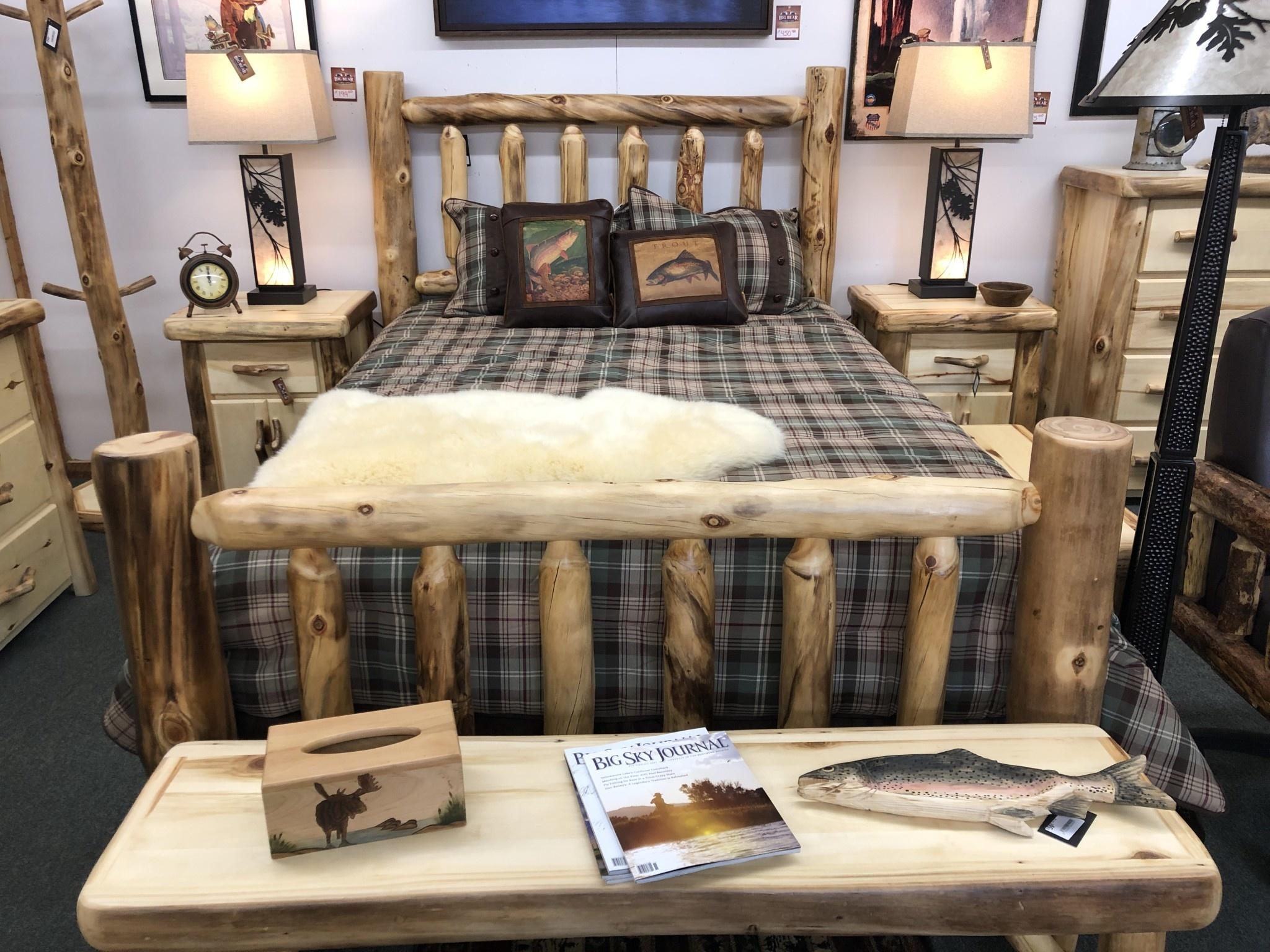 Rustic log Aspen Queen Bed