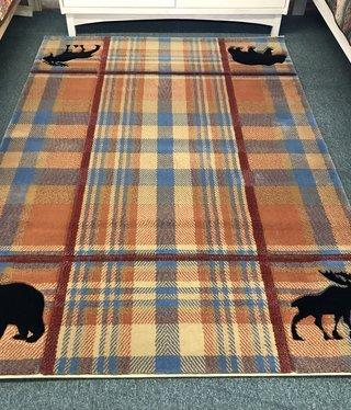 United Weavers Cottage Bear/Moose Plaid 5'3 x 7'6 Rug