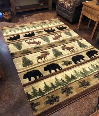 United Weavers Cottage Bear & Moose Beige 5'3 x 7'6 Rug