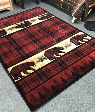 United Weavers Cottage Bears/Pinecones/Check Rug 5'3 x 7'6
