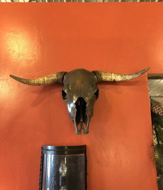 Fish Painted Cow Skull with Horns
