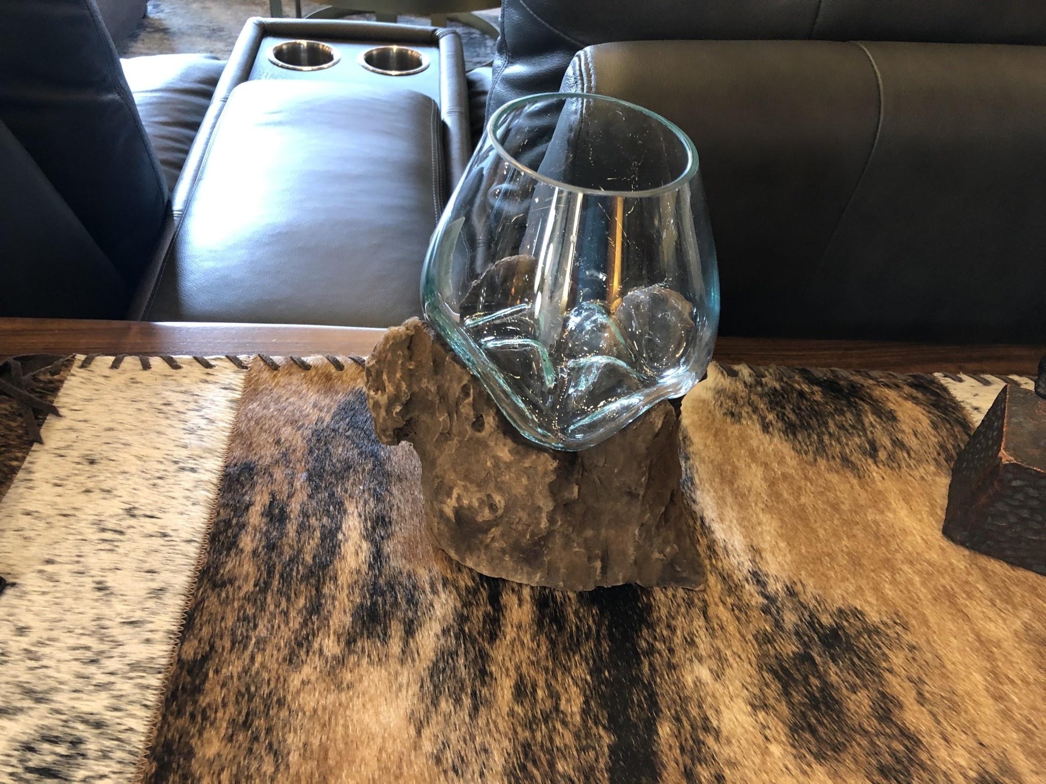 Rusty X Small Handblown Glass Bowl/Gamal Root Base